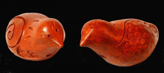 Coucous oiseaux faience rouge